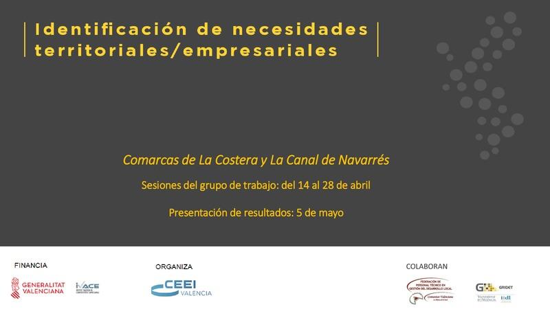 Archivo de presentación de resultados Identificación de Necesidades La Canal de Navarrés y La Costera